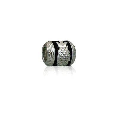 Sterling Silver Hawaiian Rhodium Black Enamel Pineapple Charm Bead