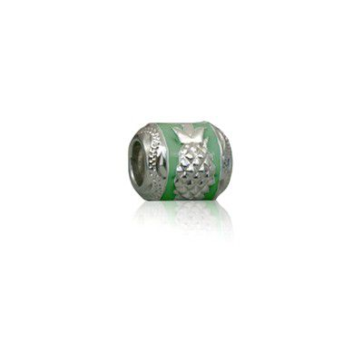 Sterling Silver Hawaiian Rhodium Green Enamel Pineapple Charm Bead