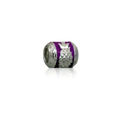Sterling Silver Hawaiian Rhodium Purple Enamel Pineapple Charm Bead