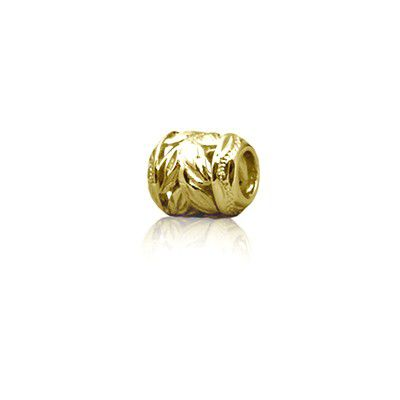 Sterling Silver Hawaiian Yellow Gold Cut-In Maile Leaf Bead Charm