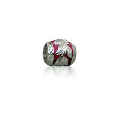 Sterling Silver Hawaiian Rhodium Red Enamel Maile Charm Bead