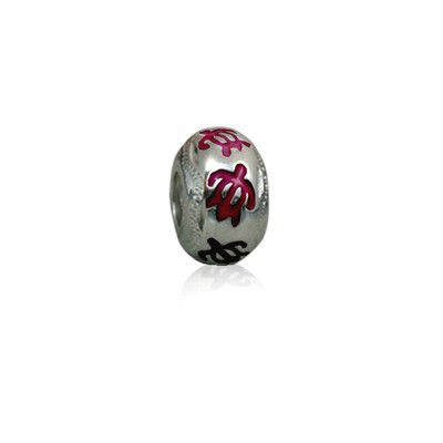 Sterling Silver Hawaiian Rhodium Red Enamel HONU Charm Bead