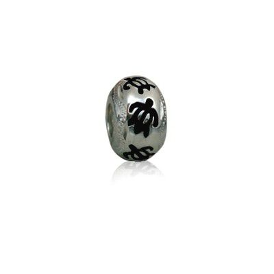 Sterling Silver Hawaiian Rhodium Black Enamel HONU Charm Bead