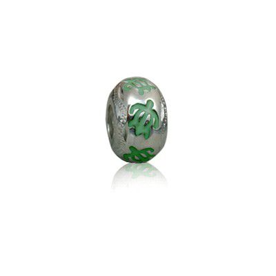 Sterling Silver Hawaiian Rhodium Green Enamel HONU Charm Bead