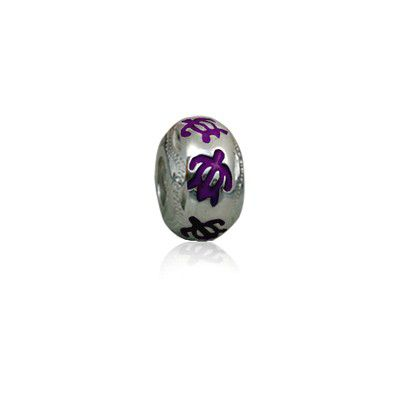 Sterling Silver Hawaiian Rhodium Purple Enamel HONU Charm Bead