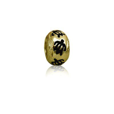 Hawaiian Yellow Gold Plated Black Enamel HONU Bead Charm