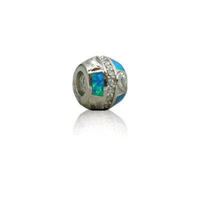 Sterling Silver Hawaiian Rhodium Opal Bead Charm