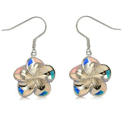 Sterling Silver 20mm Hawaiian Plumeria with Rainbow Opal Earrings with Fish Wires
