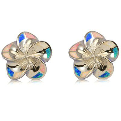 Sterling Silver 20mm Hawaiian Plumeria with Rainbow Opal Post Earrings