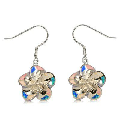 Sterling Silver 18mm Hawaiian Plumeria with Rainbow Opal Earrings with Fish Wires