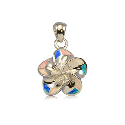 Sterling Silver 18mm Hawaiian Plumeria with Rainbow Opal Pendant