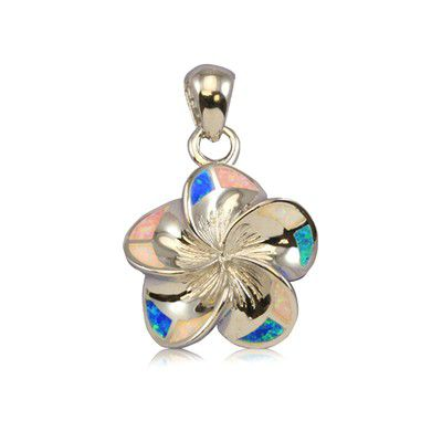 Sterling Silver 20mm Hawaiian Plumeria with Rainbow Opal Pendant