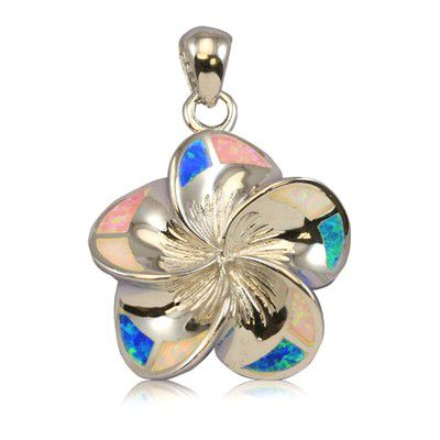 Sterling Silver 25mm Hawaiian Plumeria with Rainbow Opal Pendant