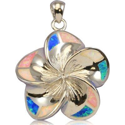 Sterling Silver 30mm Hawaiian Plumeria with Rainbow Opal Pendant