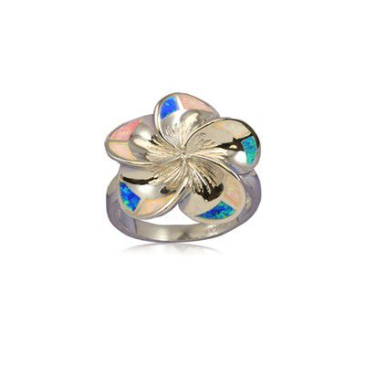 Sterling Silver 20mm Hawaiian Plumeria with Rainbow Opal Ring