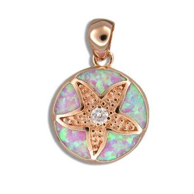 Sterling Silver Hawaiian Sand Dollar Pink Opal Pendant