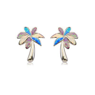 Sterling Silver Hawaiian Rainbow Opal Palm Tree Post Earrings