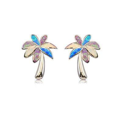 Sterling Silver Hawaiian Rainbow Opal Palm Tree Post Earrings