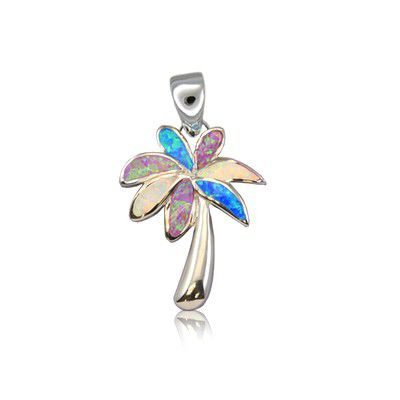 Sterling Silver Hawaiian Rainbow Opal Palm Tree Pendant (S)