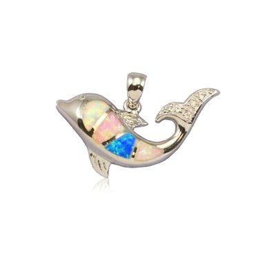 Sterling Silver Hawaiian Rainbow Opal Dolphin Pendant