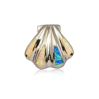 Sterling Silver Hawaiian Rainbow Opal Clam Shell Pendant