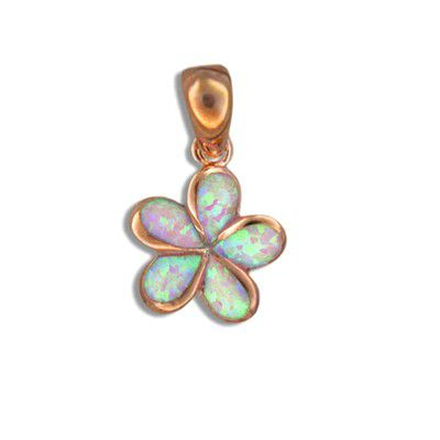 Sterling Silver Hawaiian Plumeria Pink Opal Pendant (S)