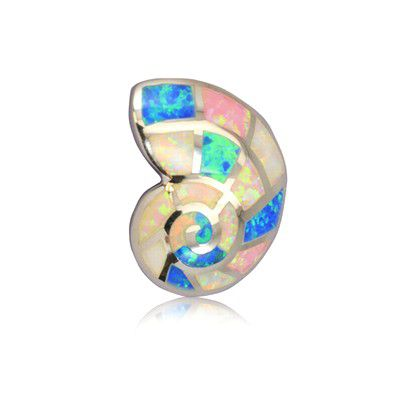 Sterling Silver Hawaiian Rainbow Opal Shell Pendant