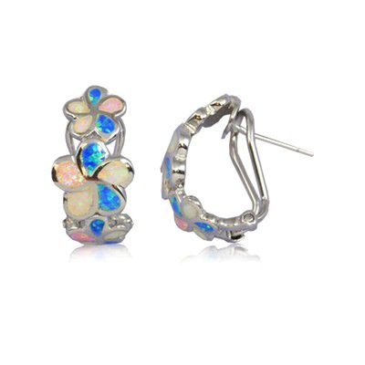 Sterling Silver Triple Hawaiian Plumeria with Rainbow Opal Post Earrings