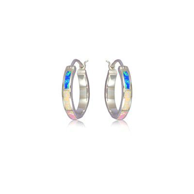 Sterling Silver Hawaiian Hoop with Rainbow Opal Post Earrings (S)