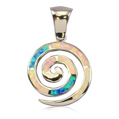 Sterling Silver Hawaiian Rainbow Opal Spiral Pendant