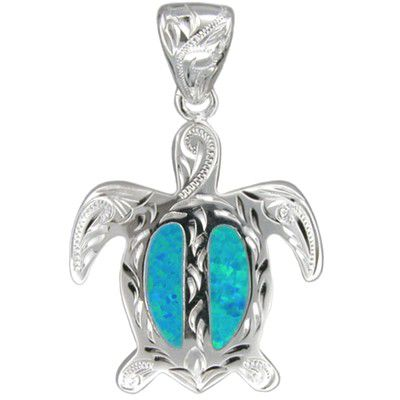Sterling Silver Hawaiian Hand Carved Blue Opal Honu Pendant (L)