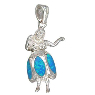 Sterling Silver Hawaiian Blue Opal Hula Girl Pendant (L)