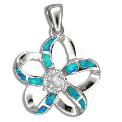 Sterling Silver Hawaiian Cut-in Blue Opal Plumeria Pendant (L) with CZ