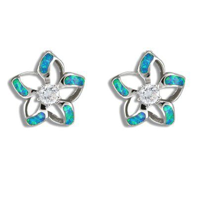 Sterling Silver Hawaiian Cut-in Blue Opal Fancy Plumeria Pierced Earrings with CZ
