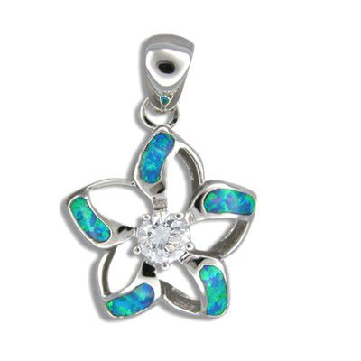 Sterling Silver Hawaiian Cut-in Blue Opal Fancy Plumeria Pendant with CZ