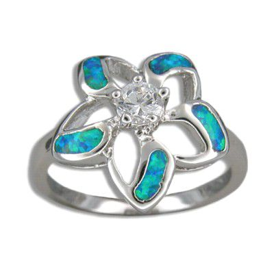 Sterling Silver Hawaiian Cut-in Blue Opal Fancy Plumeria Ring with CZ