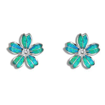 Sterling Silver Hawaiian Blue Opal Plumeria Pierced Earrings with CZ