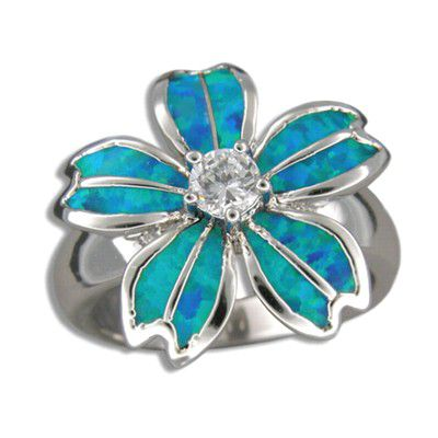 Sterling Silver Hawaiian Blue Opal Plumeria Ring with CZ