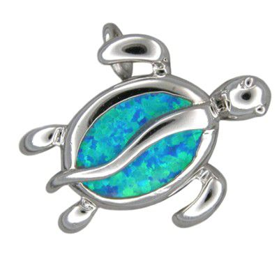 Sterling Silver Hawaiian Blue Opal Sea Turtle Pendant