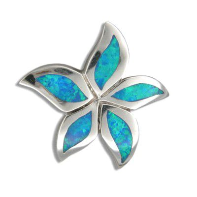 Sterling Silver Hawaiian Blue Opal Starfish Pendant
