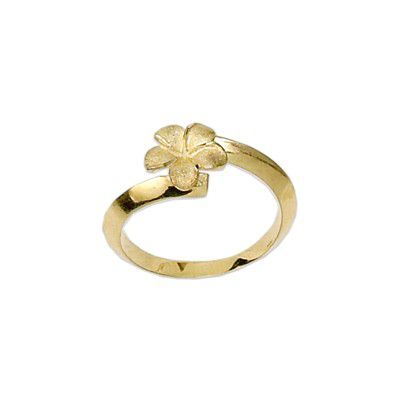 14kt Yellow Gold Hawaiian 9mm Plumeria Ring