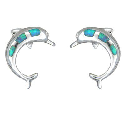 Sterling Silver Blue Opal Hawaiian Jumping Dolphin Pierced Earrings