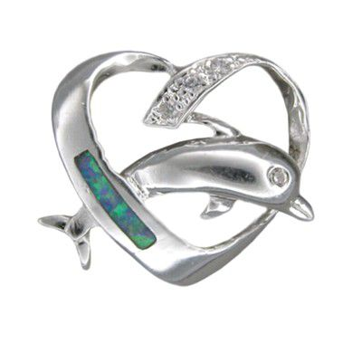 Sterling Silver Hawaiian Blue Opal Dolphin in Heart Pendant