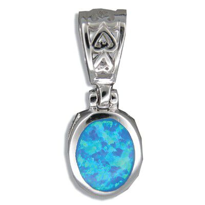 Sterling Silver Hawaiian Oval Shaped Blue Opal Pendant