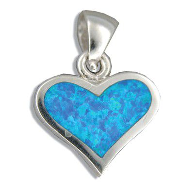Sterling Silver Hawaiian Heart Shaped Blue Opal Pendant
