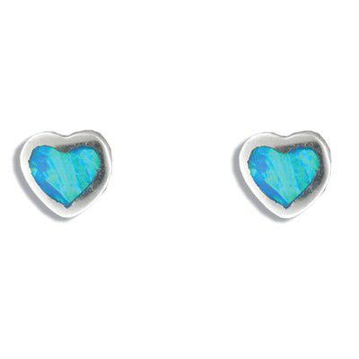 Sterling Silver Hawaiian Heart Shaped Blue Opal Post Earrings