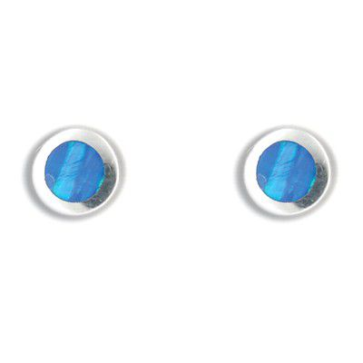 Sterling Silver Hawaiian Round Shaped Blue Opal Post Earrings
