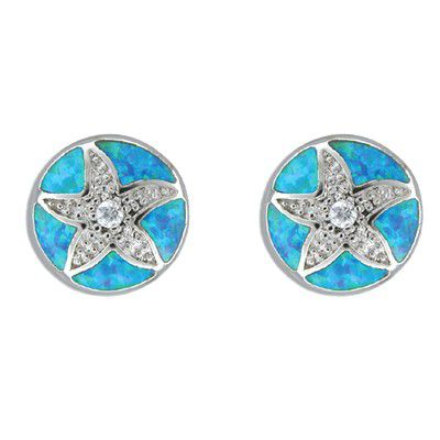 Sterling Silver Hawaiian Sand Dollar Blue Opal Pierced Earrings