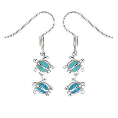 Sterling Silver Hawaiian Double HONU Blue Opal Earrings with Fish Wires