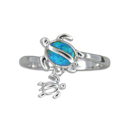 Sterling Silver Hawaiian Mother and Baby Honu Blue Opal Ring